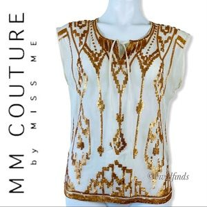 MM Couture by Miss Me Gold Sequin Aztec Blouse Top